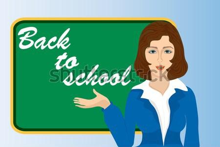 ストックフォト: 少女 · 書く · 黒板 · 実例 · 子供
