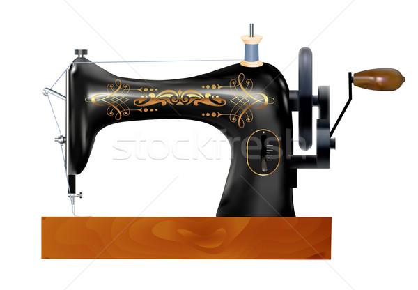 Starych maszyny do szycia biały ilustracja drewna pracy Zdjęcia stock © yurkina