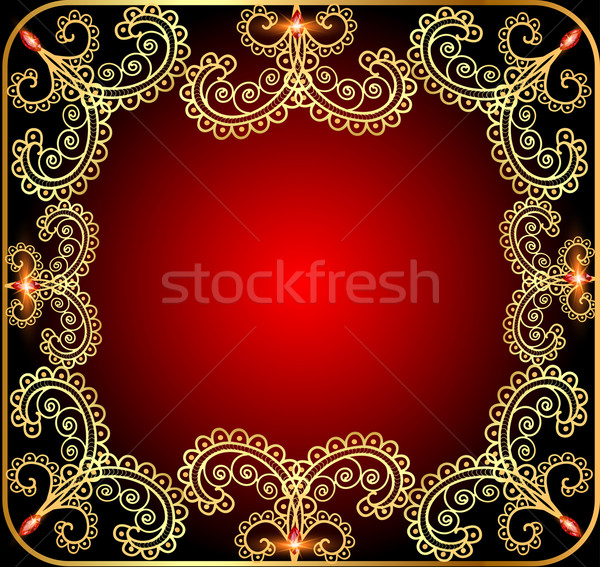 background with the frame with gold ornament and precious stone Stock photo © yurkina