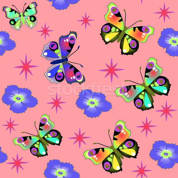 シームレス ピンク 蝶 花 実例 テクスチャ ストックフォト © yurkina