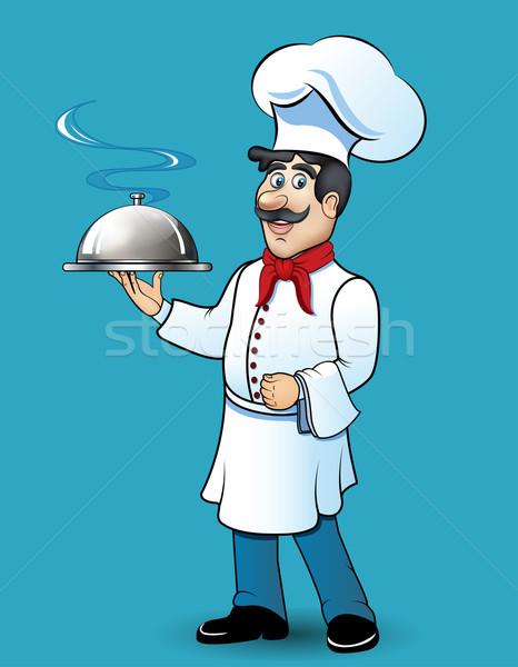 Illusztráció vicces szakács étel kéz művészet Stock fotó © yurkina