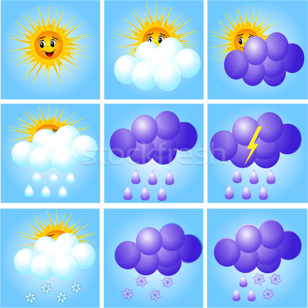 merry set of icons to indicate weather Stock photo © yurkina