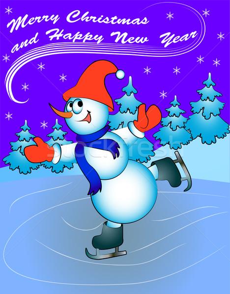 Hó férfi korcsolya gratulálok illusztráció sport Stock fotó © yurkina