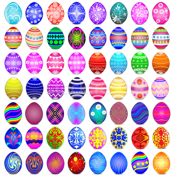 set of Easter eggs on the white background Stock photo © yurkina