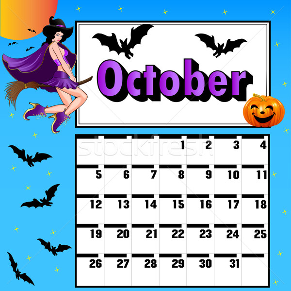 calendar for October bats pumpkin witch on a broomstick Stock photo © yurkina