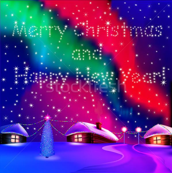 Christmas card with houses and night Northern lights Stock photo © yurkina