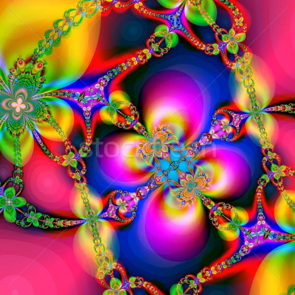 Színes fraktál virágmintás minta digitális mű Stock fotó © yurkina