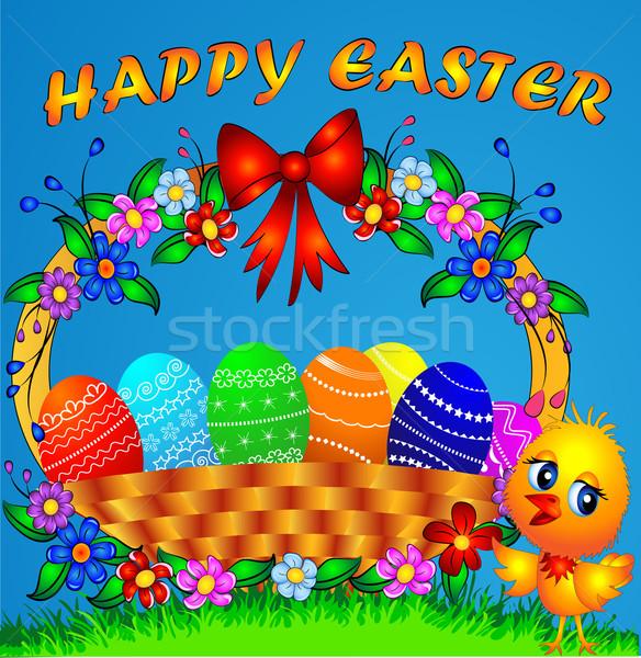 Kosár színes tojás tyúk illusztráció ünnepi húsvét Stock fotó © yurkina