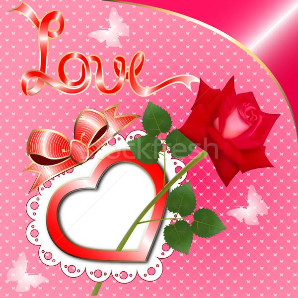 グリーティングカード 中心 バラ 実例 愛 抽象的な ストックフォト © yurkina