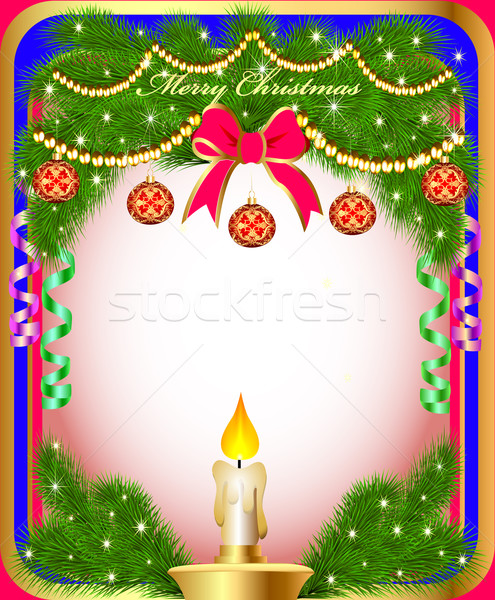 new year's background with a candle  and fir branches Stock photo © yurkina
