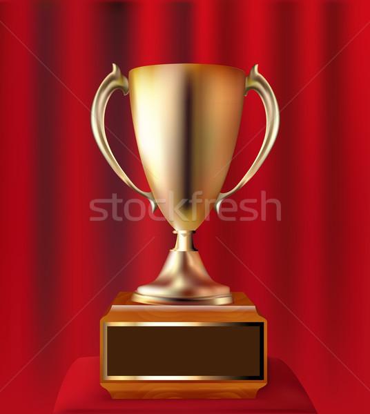 ストックフォト: 金 · カップ · 勝者 · 赤 · カーテン · 実例