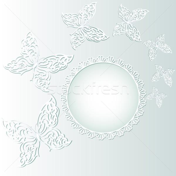 蝶 白 サークル レース 実例 春 ストックフォト © yurkina