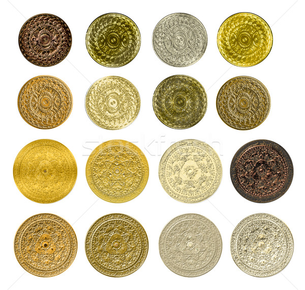 illustration of a fractal set of gold silver bronze coins medals Stock photo © yurkina