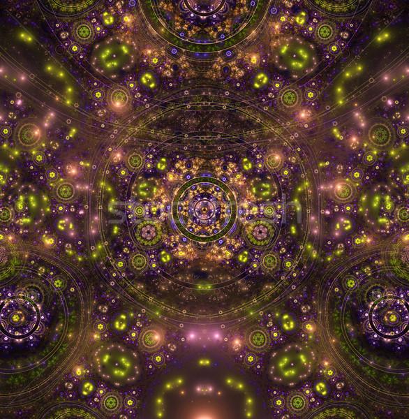 Ilustração fractal brilhante círculos luz preto Foto stock © yurkina