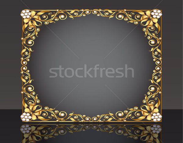 Frame goud patroon reflectie illustratie boeg Stockfoto © yurkina