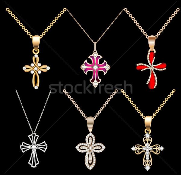 set gold cross pendant with gems Stock photo © yurkina