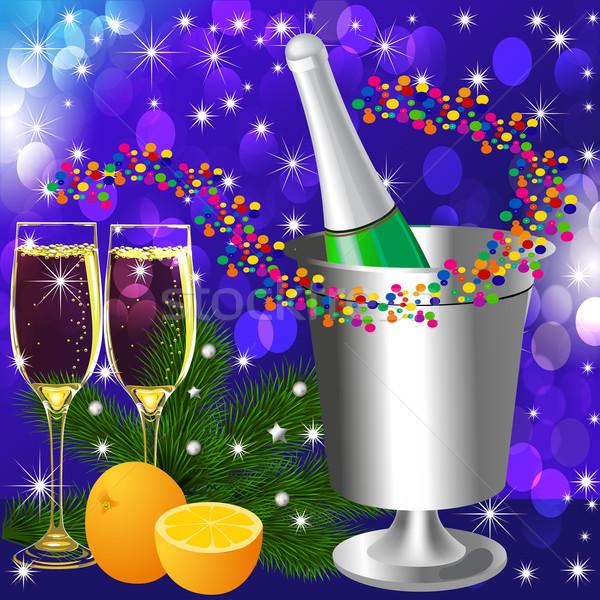 festive background with wine goblet and orange Stock photo © yurkina