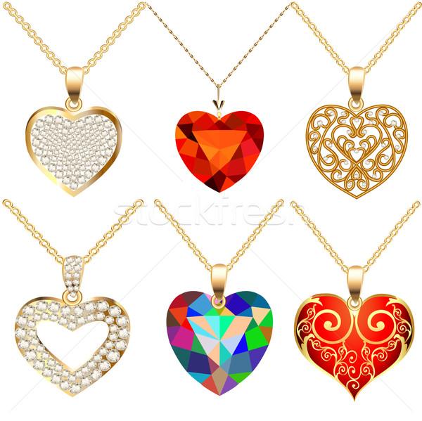 Conjunto pedras forma ilustração coração Foto stock © yurkina