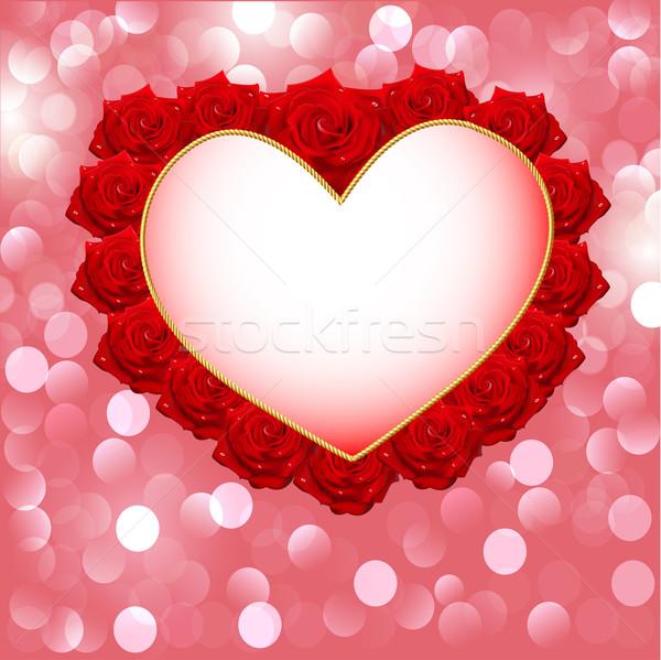 Kalp güller düğün davetiyesi örnek çiçekler düğün Stok fotoğraf © yurkina