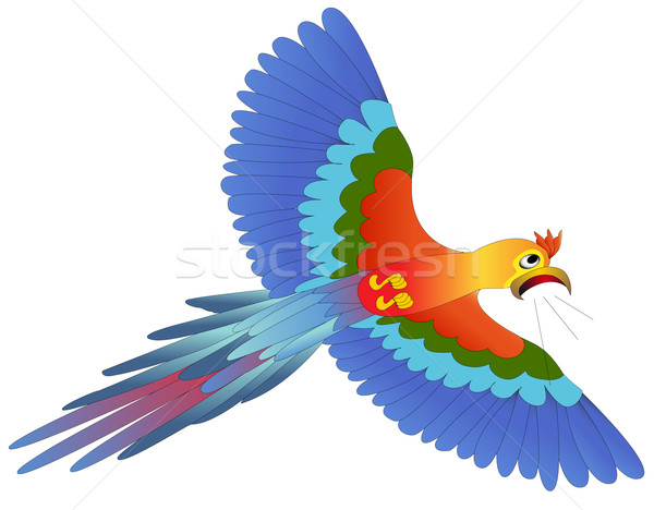 screaming afraid blue parrot flies on white Stock photo © yurkina