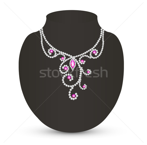 female necklace with pink jewels  Stock photo © yurkina