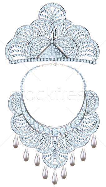 иллюстрация ожерелье тиара драгоценный камней жемчуга Сток-фото © yurkina