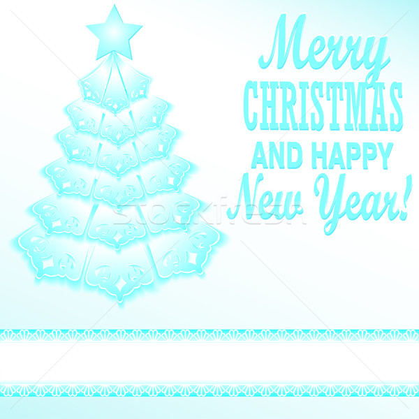 Illustration of a blue Christmas tree festive paper style Stock photo © yurkina