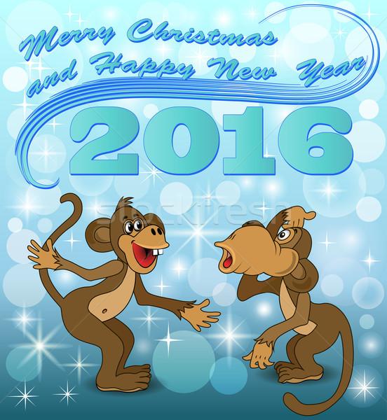 実例 休日 カード 2 サル 話す ストックフォト © yurkina