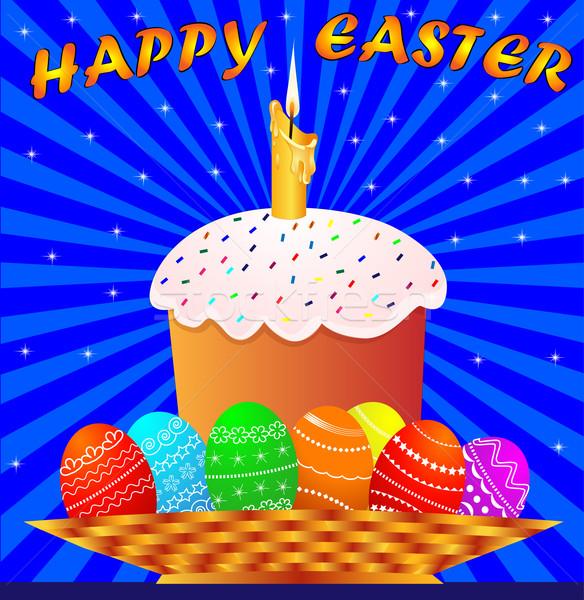 Húsvét gyertya színes tojás illusztráció tűz fény Stock fotó © yurkina