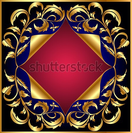 background with gold(en) vegetable pattern and wreathed small p Stock photo © yurkina