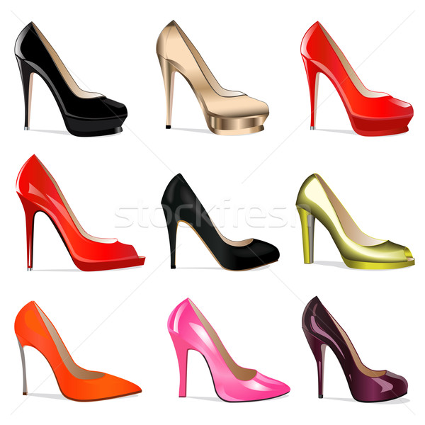 set of women's shoes with heels Stock photo © yurkina