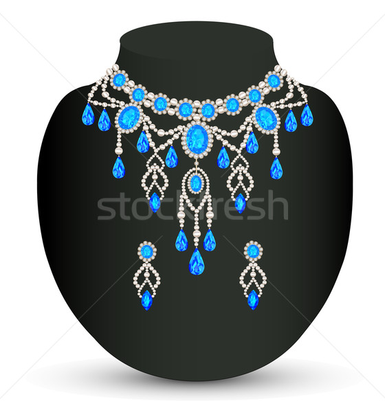 jewelry female necklace and earrings with blue jewels Stock photo © yurkina
