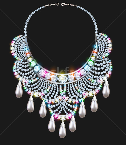 necklace female brilliant with jewels on black Stock photo © yurkina
