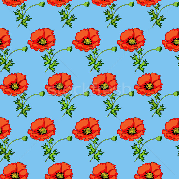 illustration seamless background of poppies on a blue  Stock photo © yurkina