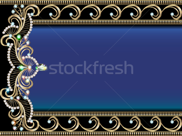 Illustration golden Ornamente wertvolle Steine Blume Stock foto © yurkina