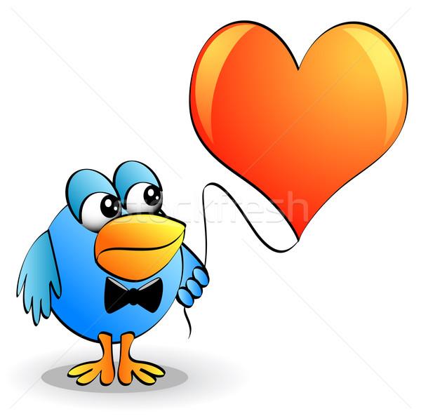 Divertido pássaro amarrar coração fio ilustração Foto stock © yurkina