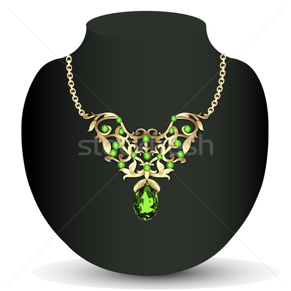 of a necklace with emeralds and precious stones and earrings Stock photo © yurkina