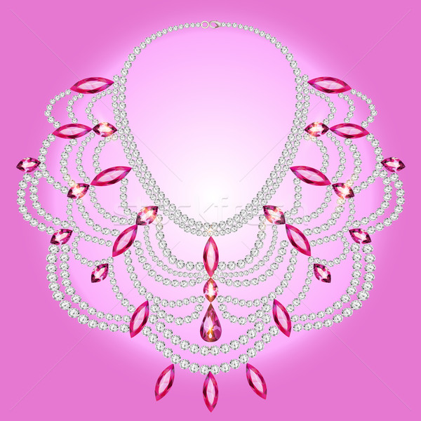 feminine vintage necklace with pink gems Stock photo © yurkina