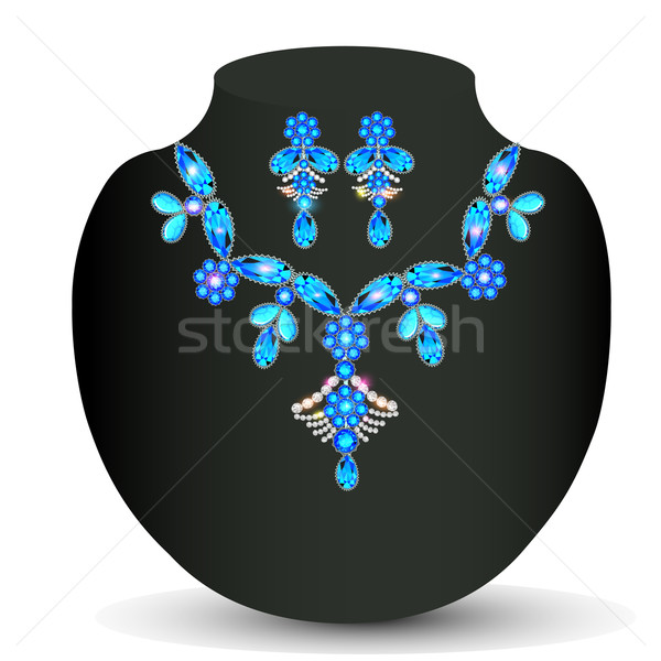 illustration of woman's necklace with  precious stones Stock photo © yurkina