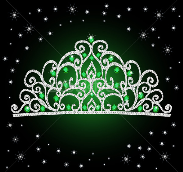 women's tiara crown wedding with green stones and the stars Stock photo © yurkina