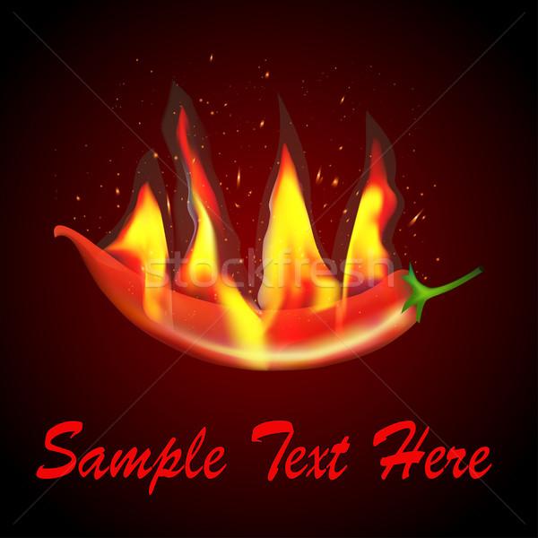 Czerwony chili płomienie ilustracja żywności Zdjęcia stock © yurkina