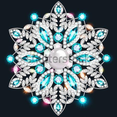 Ilustração fractal ouro broche azul Foto stock © yurkina
