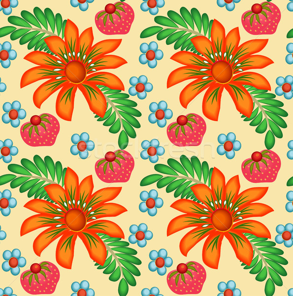 illustration background painted with flowers and berries Stock photo © yurkina