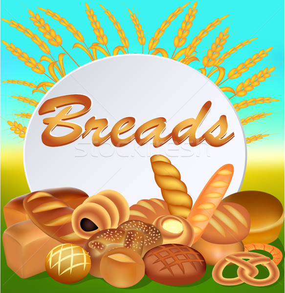 Illustration background with a set of different bread with ears  Stock photo © yurkina