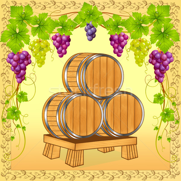 wooden barrels with wine on background of the grapevine Stock photo © yurkina