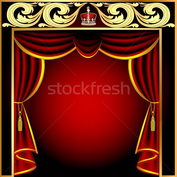 Színpadi függöny arany minta illusztráció űr Stock fotó © yurkina