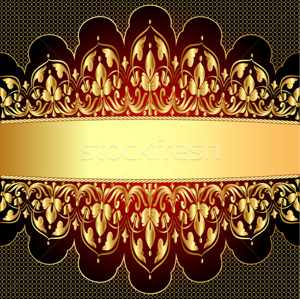 gold background with a strip with a gold vegetative ornament Stock photo © yurkina