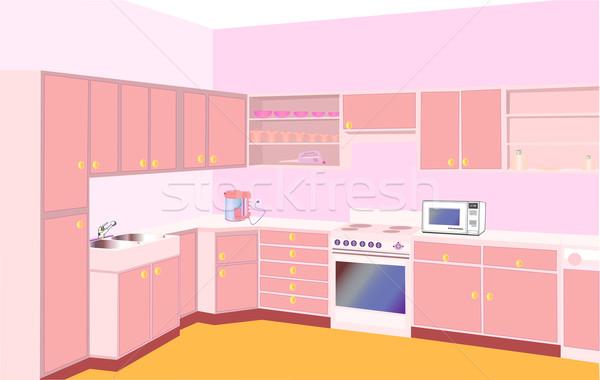 мебель кухне набор современных иллюстрация домой Сток-фото © yurkina