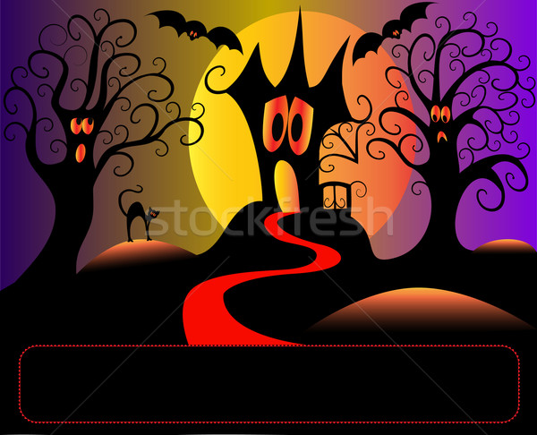 afraid house tree and cat in halloween Stock photo © yurkina