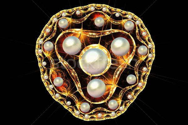 Fraktal örnek altın broş inciler moda Stok fotoğraf © yurkina